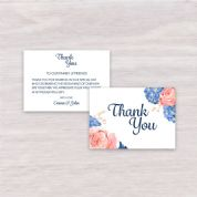 Hydrangea & Rose - Thank You Card A6 Flat